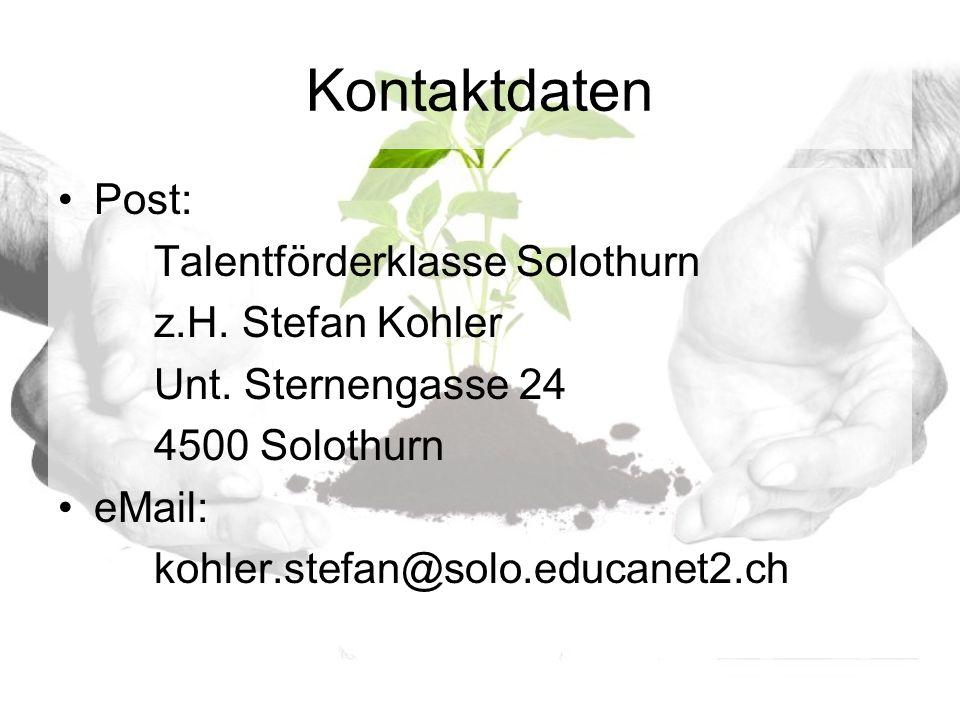 Kontaktdaten Post: Talentförderklasse Solothurn z.H.