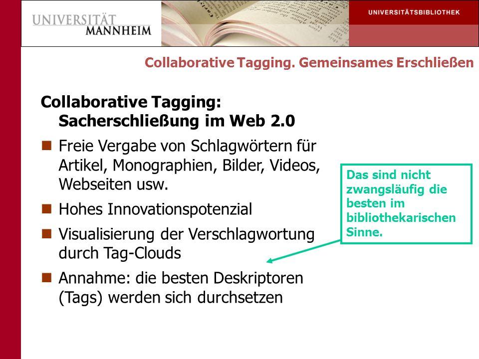 Die Tagging-Funktionen im Online-Katalog der Universitätsbibliothek Mannheim Collaborative Tagging.