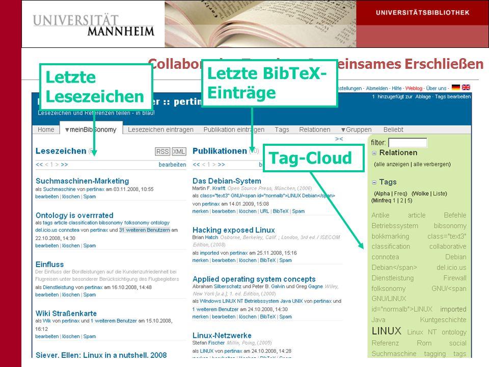 Letzte Lesezeichen Letzte BibTeX- Einträge Tag-Cloud