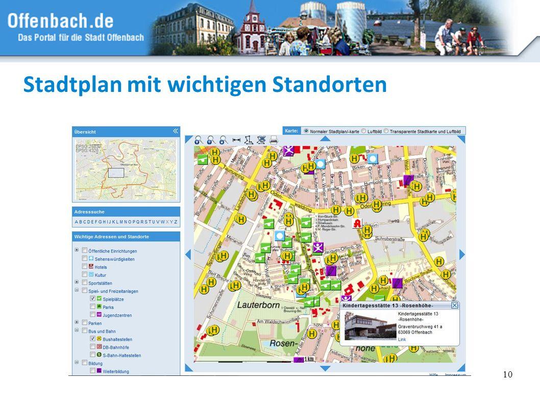 10 Stadtplan mit wichtigen Standorten