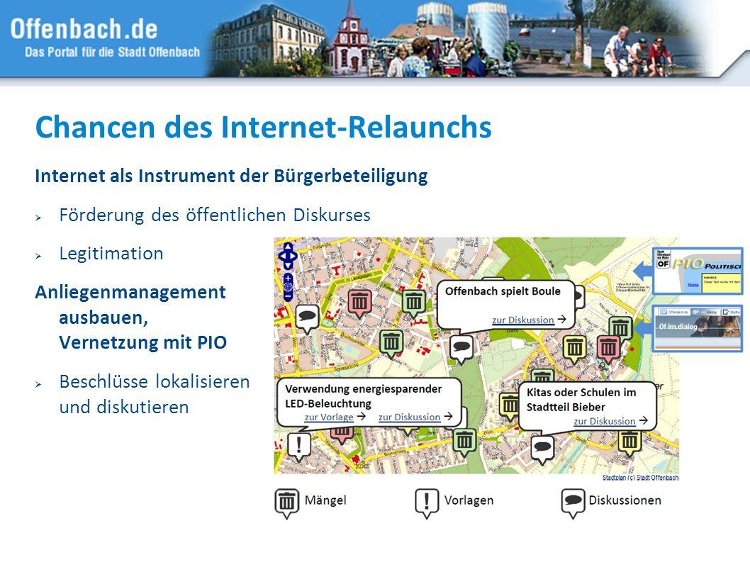 15 Chancen des Internet-Relaunchs Internet als Instrument der Bürgerbeteiligung Förderung des öffentlichen Diskurses Legitimation Anliegenmanagement a