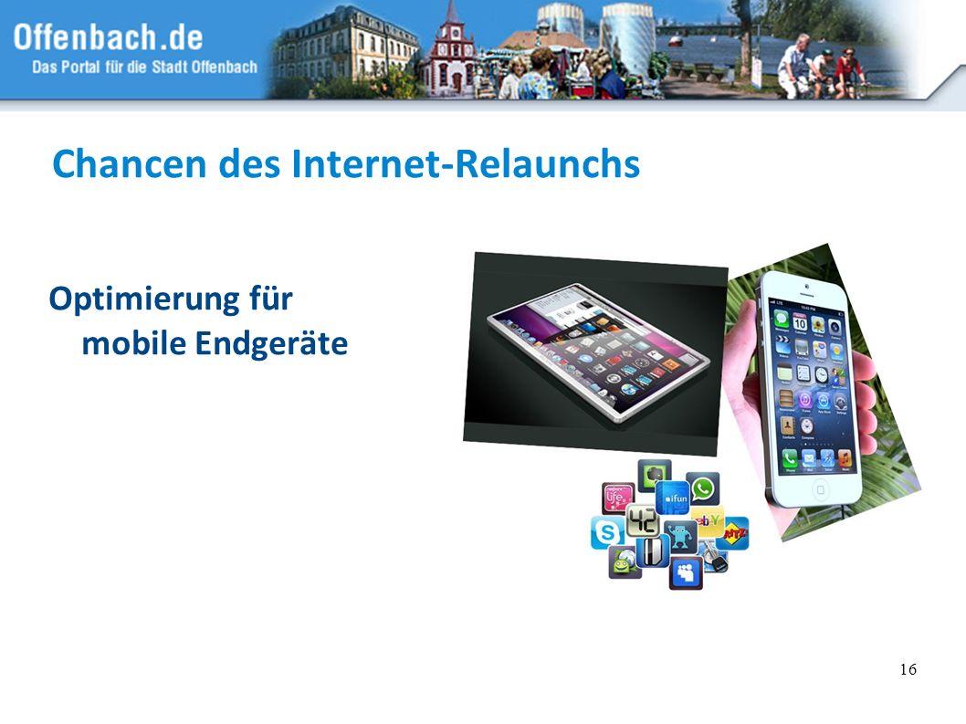 16 Chancen des Internet-Relaunchs Optimierung für mobile Endgeräte