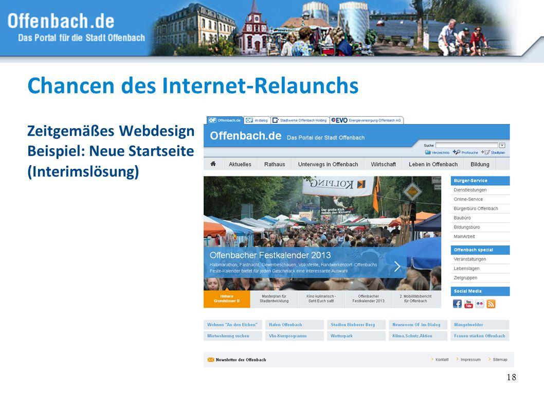Chancen des Internet-Relaunchs Zeitgemäßes Webdesign Beispiel: Neue Startseite (Interimslösung) 18