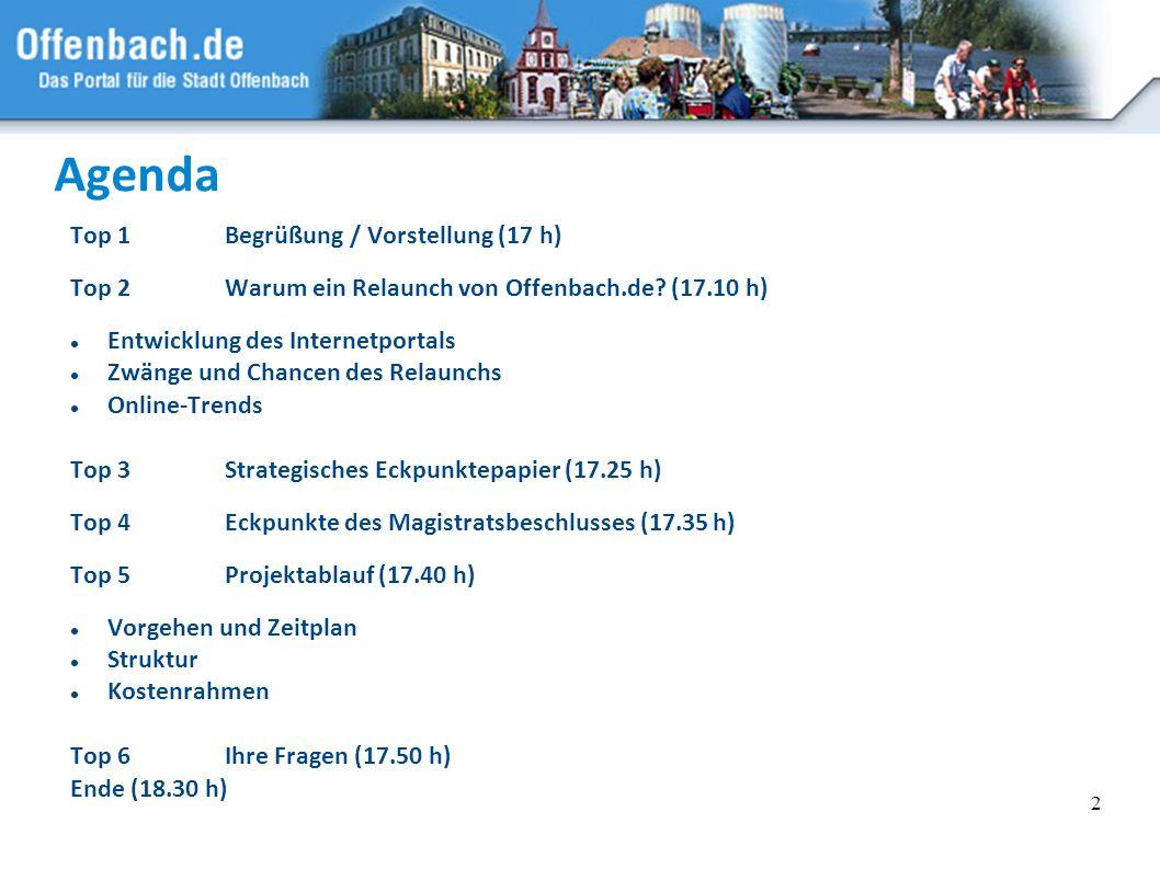 2 Agenda Top 1Begrüßung / Vorstellung (17 h) Top 2Warum ein Relaunch von Offenbach.de? (17.10 h) Entwicklung des Internetportals Zwänge und Chancen de