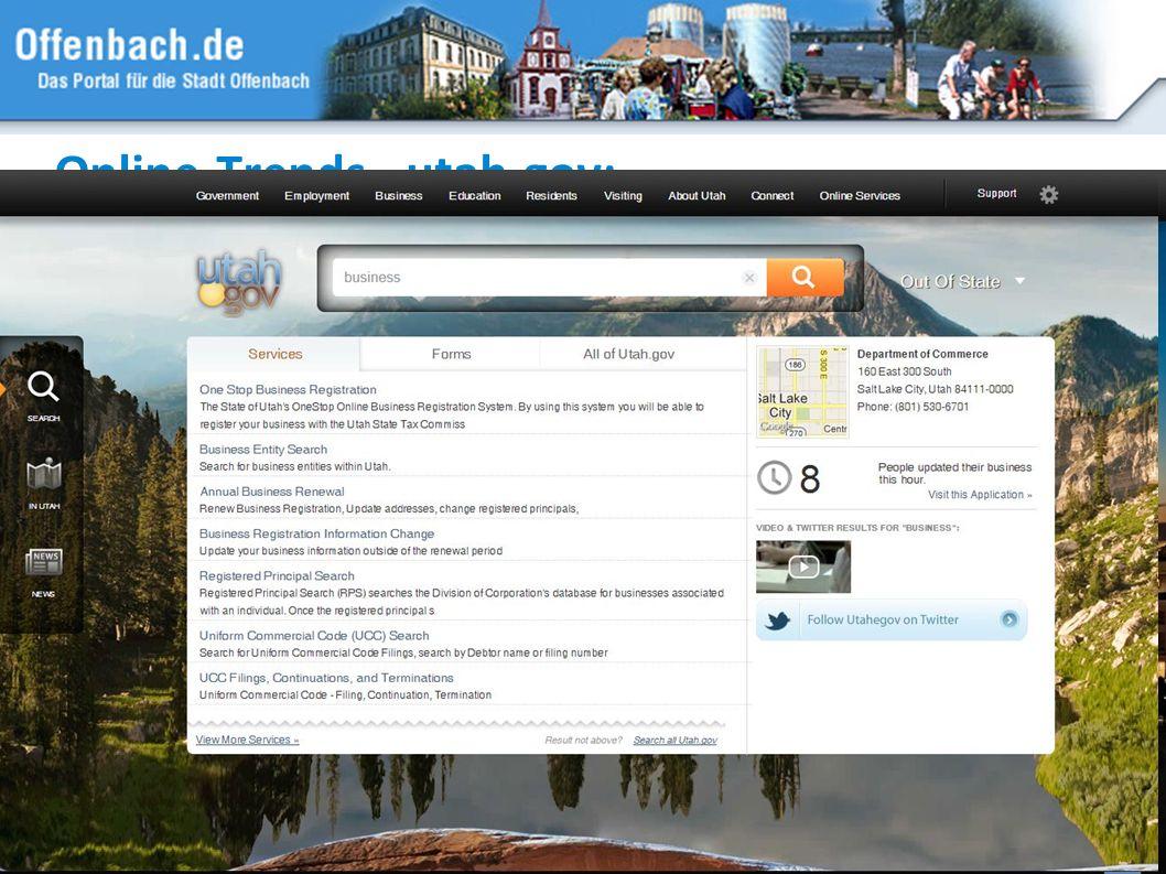 21 Online-Trends - utah.gov: Suchfunktion, strukturierter Zugang, gestalterische Innovation