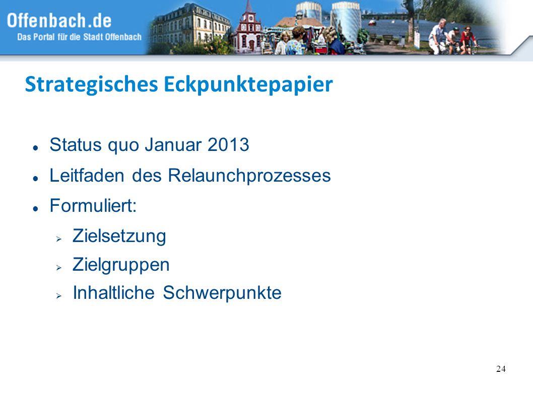 24 Strategisches Eckpunktepapier Status quo Januar 2013 Leitfaden des Relaunchprozesses Formuliert: Zielsetzung Zielgruppen Inhaltliche Schwerpunkte