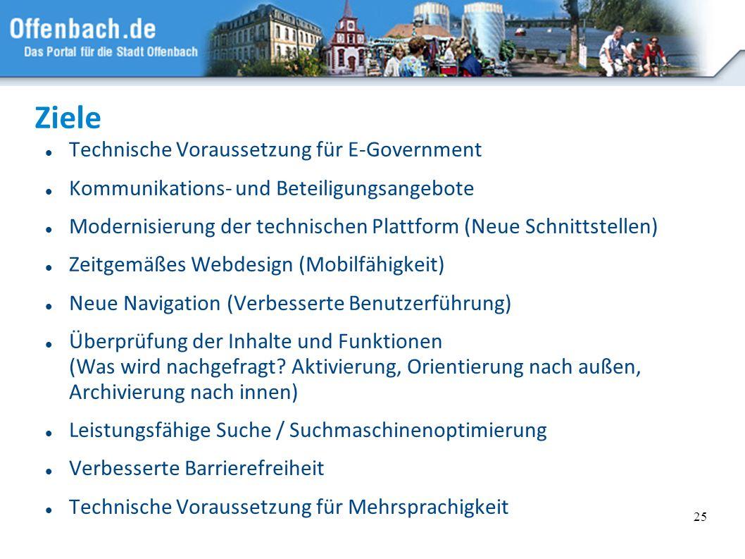 25 Ziele Technische Voraussetzung für E-Government Kommunikations- und Beteiligungsangebote Modernisierung der technischen Plattform (Neue Schnittstel