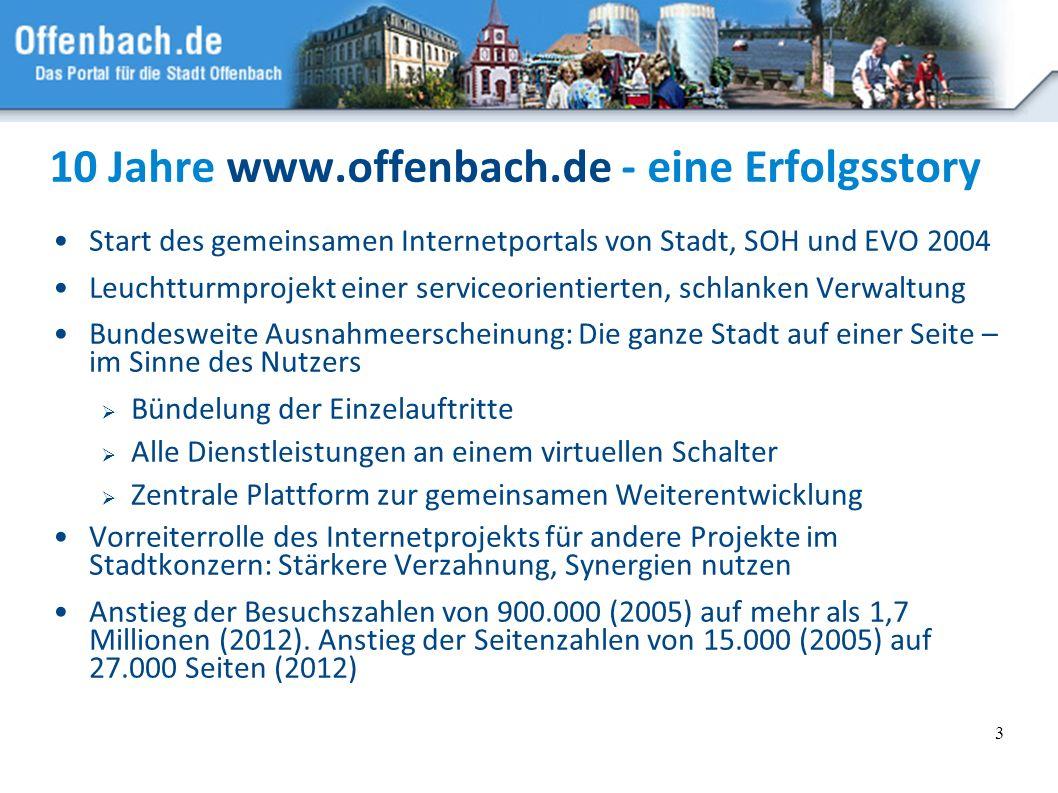 3 10 Jahre www.offenbach.de - eine Erfolgsstory Start des gemeinsamen Internetportals von Stadt, SOH und EVO 2004 Leuchtturmprojekt einer serviceorien