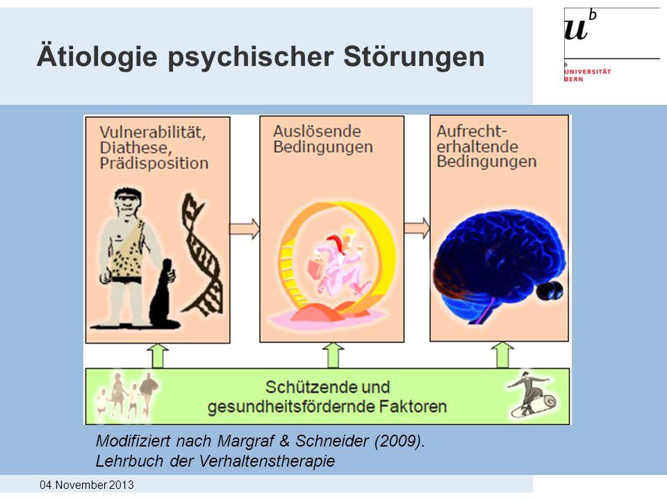 Ätiologie psychischer Störungen Modifiziert nach Margraf & Schneider (2009). Lehrbuch der Verhaltenstherapie 04.November 2013