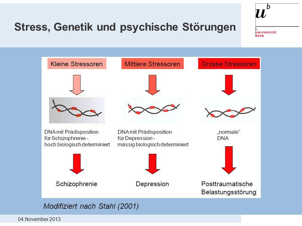 Stress, Genetik und psychische Störungen Modifiziert nach Stahl (2001) 04.November 2013