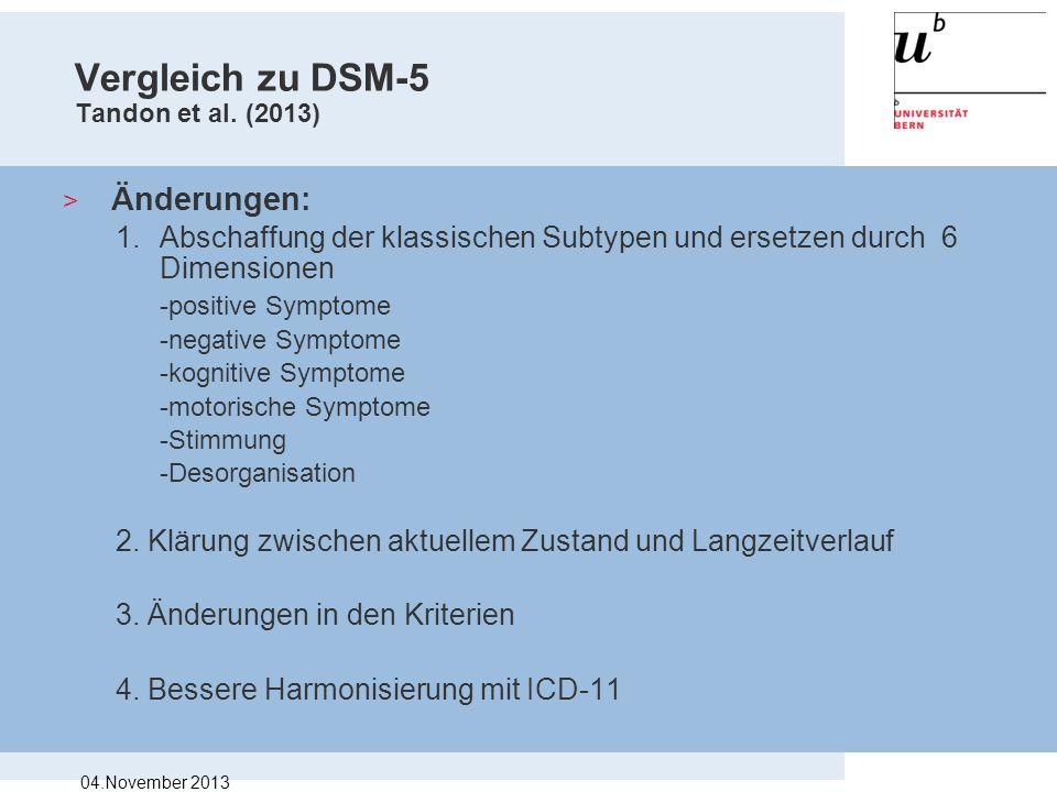 Vergleich zu DSM-5 Tandon et al. (2013) > Änderungen: 1.Abschaffung der klassischen Subtypen und ersetzen durch 6 Dimensionen -positive Symptome -nega