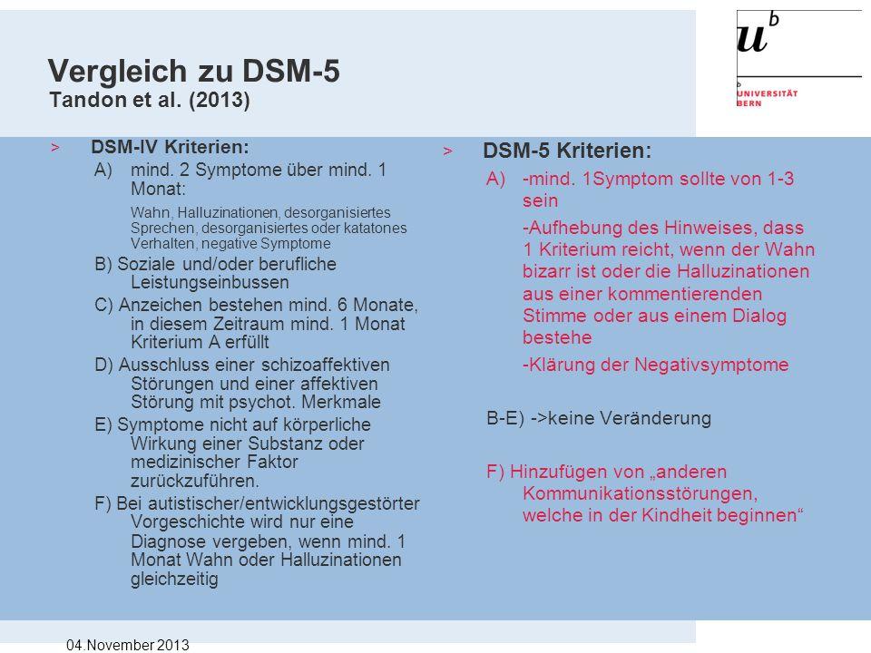 Vergleich zu DSM-5 Tandon et al. (2013) > DSM-IV Kriterien: A)mind. 2 Symptome über mind. 1 Monat: Wahn, Halluzinationen, desorganisiertes Sprechen, d
