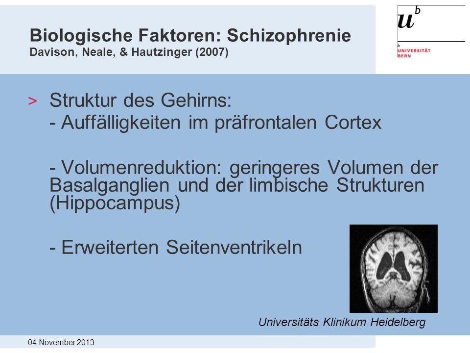 Biologische Faktoren: Schizophrenie Davison, Neale, & Hautzinger (2007) > Struktur des Gehirns: - Auffälligkeiten im präfrontalen Cortex - Volumenredu