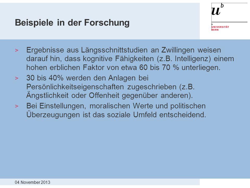 Beispiele in der Forschung > Ergebnisse aus Längsschnittstudien an Zwillingen weisen darauf hin, dass kognitive Fähigkeiten (z.B. Intelligenz) einem h