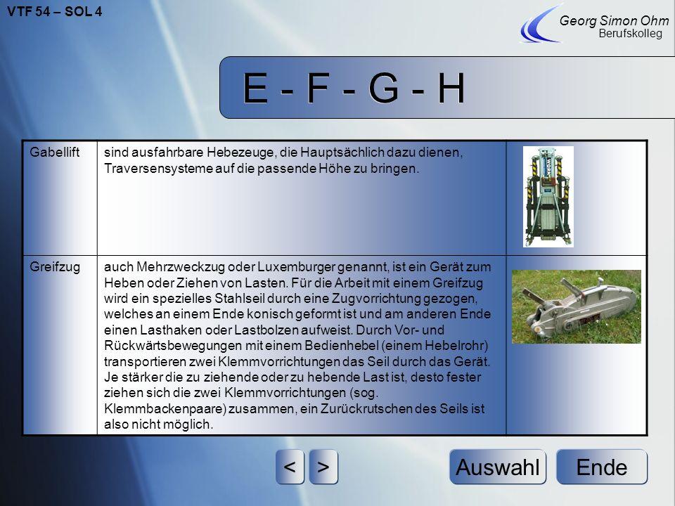 E - F - G - H Ende Georg Simon Ohm Berufskolleg <>Auswahl