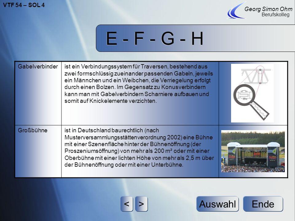 E - F - G - H Ende Georg Simon Ohm Berufskolleg <>Auswahl Gabelliftsind ausfahrbare Hebezeuge, die Hauptsächlich dazu dienen, Traversensysteme auf die
