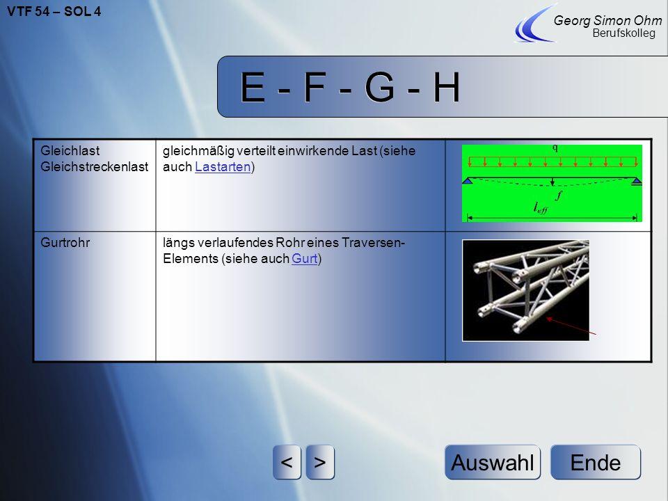 E - F - G - H Ende Georg Simon Ohm Berufskolleg <>Auswahl Gabelverbinderist ein Verbindungssystem für Traversen, bestehend aus zwei formschlüssig zuei