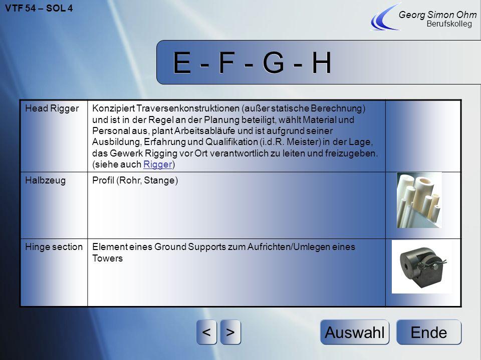 E - F - G - H Ende Georg Simon Ohm Berufskolleg <>Auswahl Ground Support aufgeständerte Traversenkonstruktion, vertikal verfahrbar oder fest. G.S. Wir