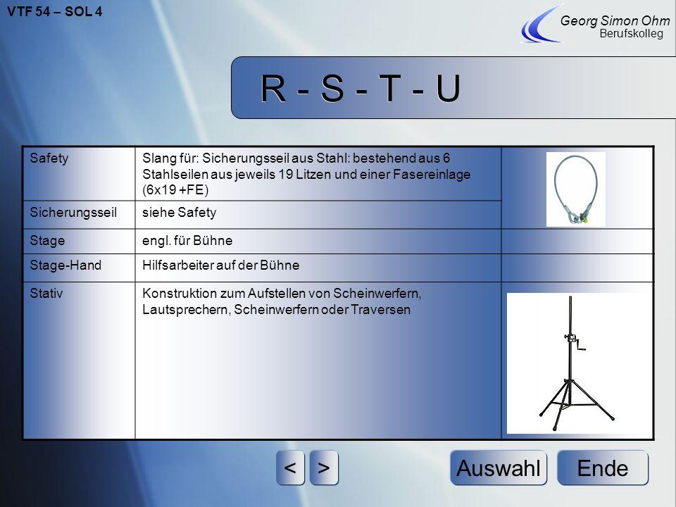R - S - T - U Ende Georg Simon Ohm Berufskolleg <>Auswahl RiggTraversenkonstruktion zum Hängen von Lasten RingmutterDie Ringmutter funktioniert wie ei