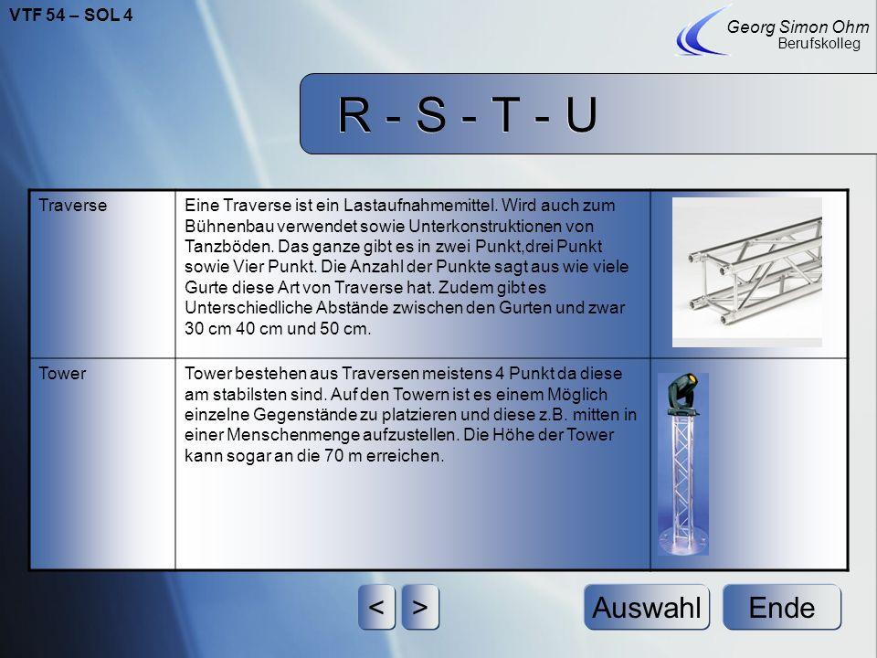 R - S - T - U Ende Georg Simon Ohm Berufskolleg <>Auswahl StrickleiterAluminium-Strickleiter: Die Anwendung in der Veranstaltungstechnik umfasst das A