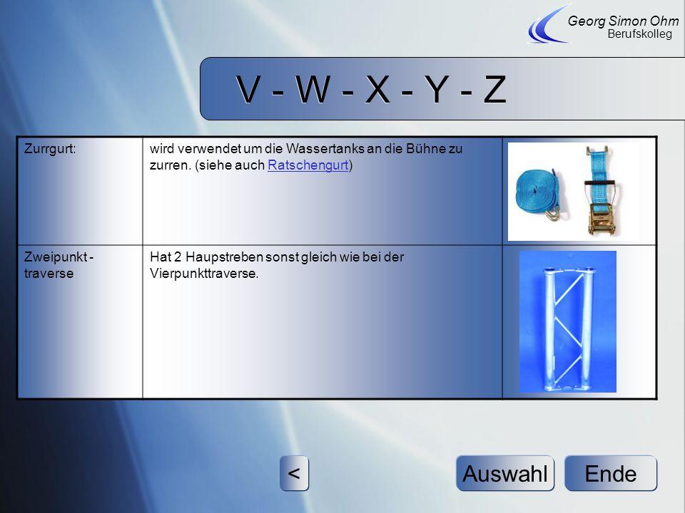 V - W - X - Y - Z V - W - X - Y - Z Stoermer, Vondrlik, Wester EndeAuswahl Georg Simon Ohm Berufskolleg >< Vierpunkt- Traverse wird ebenfalls zum Bühn