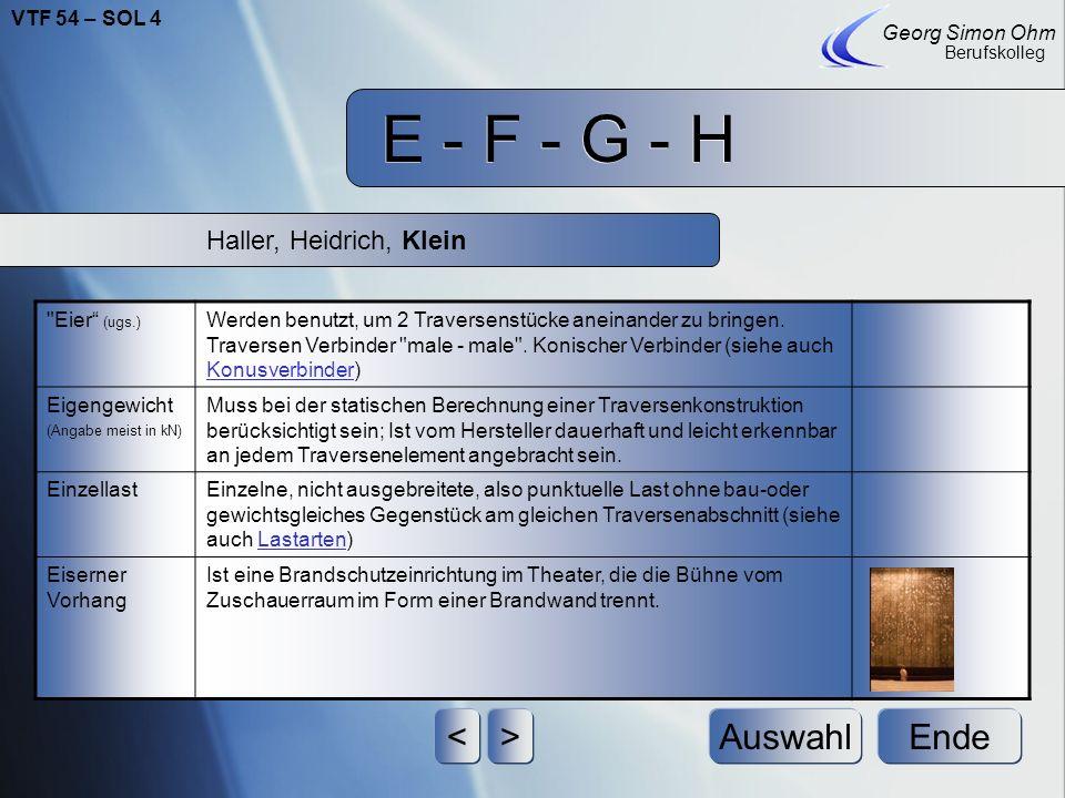 E - F - G - H Ende Georg Simon Ohm Berufskolleg <>Auswahl HebezeugSammelbegriff für alle Hilfsmittel, mit denen Lasten gehoben werden dürfen (Handkettenzug, Motor, Greifzug).