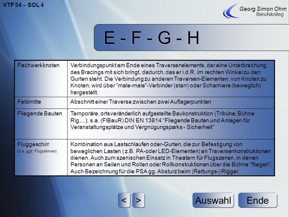E - F - G - H Ende Georg Simon Ohm Berufskolleg <>Auswahl FachwerkknotenVerbindungspunkt am Ende eines Traversenelements, der eine Unterbrechung des Bracings mit sich bringt, dadurch, das er i.d.R.