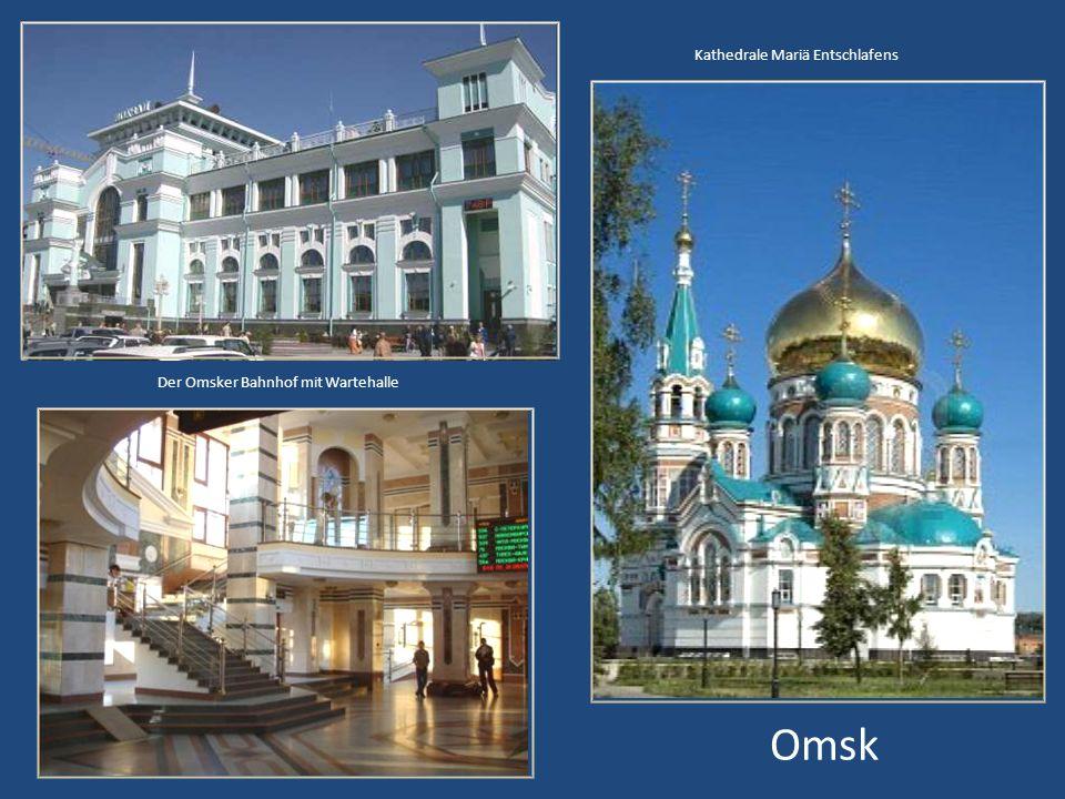 Der Irtysch, an dem die Stadt Omsk liegt. Er ist ein Nebenfluss des Ob.