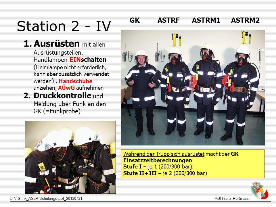 LFV Stmk_ASLP-Schulungs-ppt_20130731ABI Franz Roßmann Station 2 - IV 1.Ausrüsten mit allen Ausrüstungsteilen, Handlampen EINschalten ( Helmlampe nicht