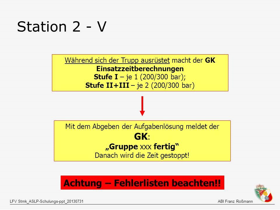 LFV Stmk_ASLP-Schulungs-ppt_20130731ABI Franz Roßmann Station 2 - V Während sich der Trupp ausrüstet macht der GK Einsatzzeitberechnungen Stufe I – je
