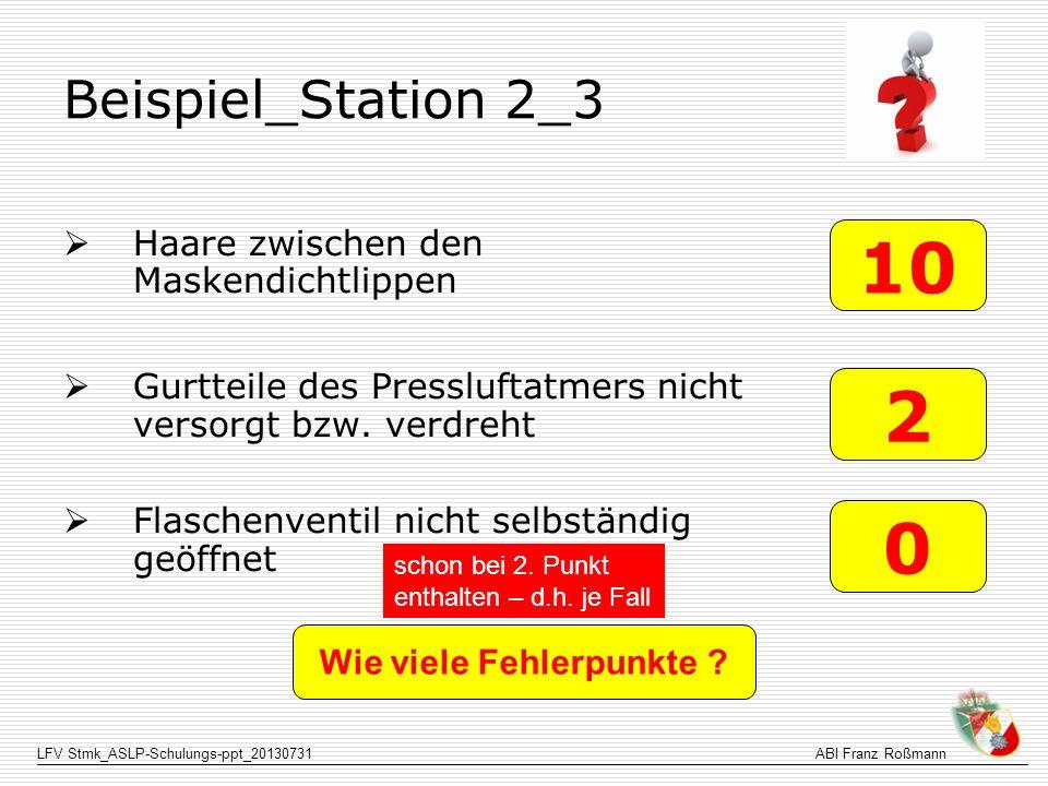 LFV Stmk_ASLP-Schulungs-ppt_20130731ABI Franz Roßmann Beispiel_Station 2_3 Haare zwischen den Maskendichtlippen Gurtteile des Pressluftatmers nicht ve