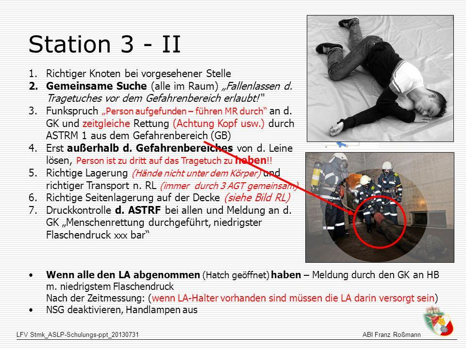 LFV Stmk_ASLP-Schulungs-ppt_20130731ABI Franz Roßmann Station 3 - II 1.Richtiger Knoten bei vorgesehener Stelle 2.Gemeinsame Suche (alle im Raum) Fall