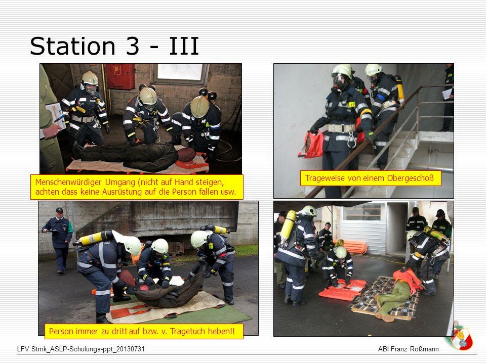 LFV Stmk_ASLP-Schulungs-ppt_20130731ABI Franz Roßmann Station 3 - III Trageweise von einem Obergeschoß Menschenwürdiger Umgang (nicht auf Hand steigen