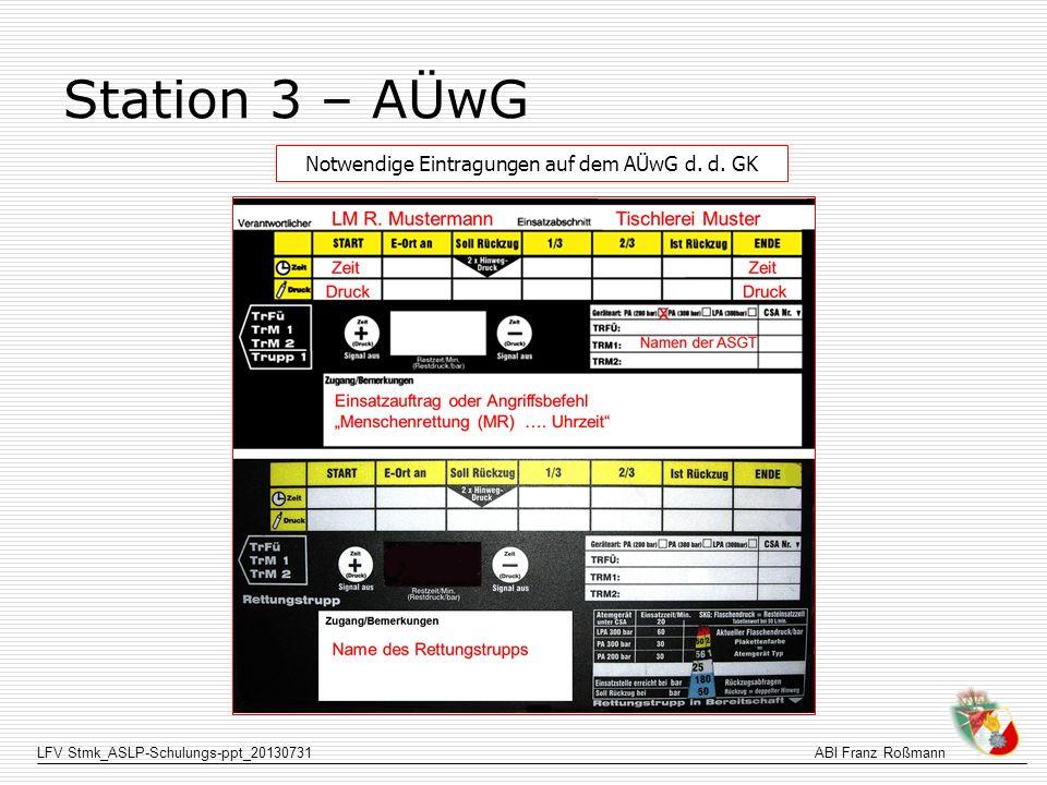 LFV Stmk_ASLP-Schulungs-ppt_20130731ABI Franz Roßmann Station 3 – AÜwG Notwendige Eintragungen auf dem AÜwG d. d. GK