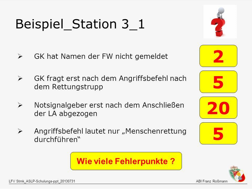 LFV Stmk_ASLP-Schulungs-ppt_20130731ABI Franz Roßmann Beispiel_Station 3_1 GK hat Namen der FW nicht gemeldet GK fragt erst nach dem Angriffsbefehl na