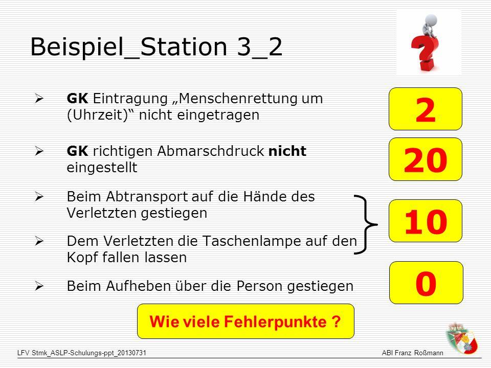LFV Stmk_ASLP-Schulungs-ppt_20130731ABI Franz Roßmann Beispiel_Station 3_2 GK Eintragung Menschenrettung um (Uhrzeit) nicht eingetragen GK richtigen A