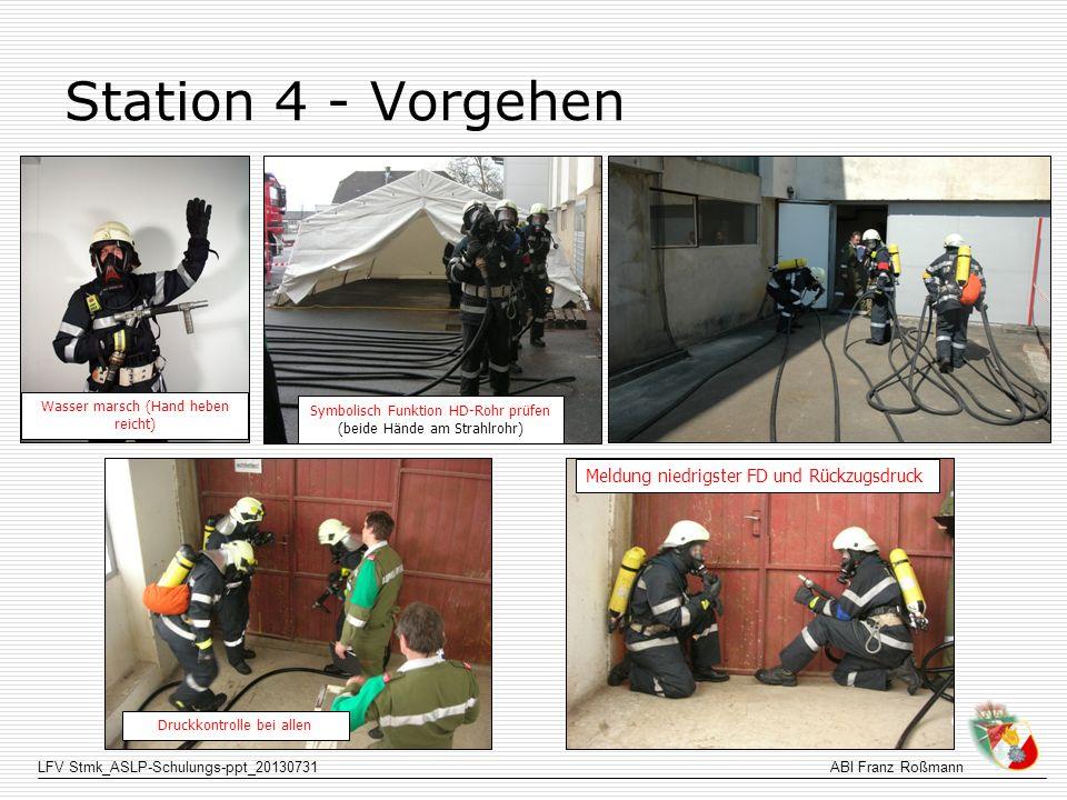 LFV Stmk_ASLP-Schulungs-ppt_20130731ABI Franz Roßmann Station 4 - Vorgehen Meldung niedrigster FD und Rückzugsdruck Symbolisch Funktion HD-Rohr prüfen