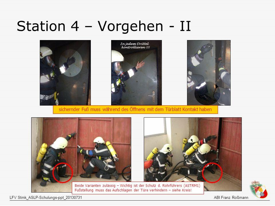 LFV Stmk_ASLP-Schulungs-ppt_20130731ABI Franz Roßmann Station 4 – Vorgehen - II Beide Varianten zulässig – Wichtig ist der Schutz d. Rohrführers (ASTR