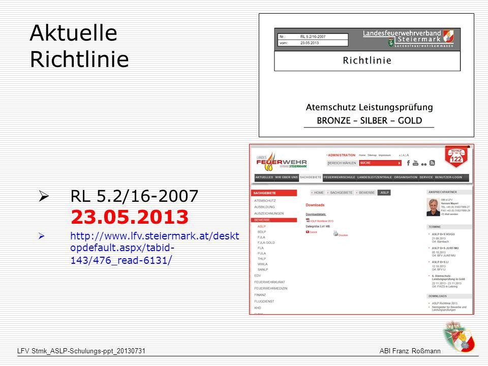 LFV Stmk_ASLP-Schulungs-ppt_20130731ABI Franz Roßmann Aktuelle Richtlinie RL 5.2/16-2007 23.05.2013 http://www.lfv.steiermark.at/deskt opdefault.aspx/