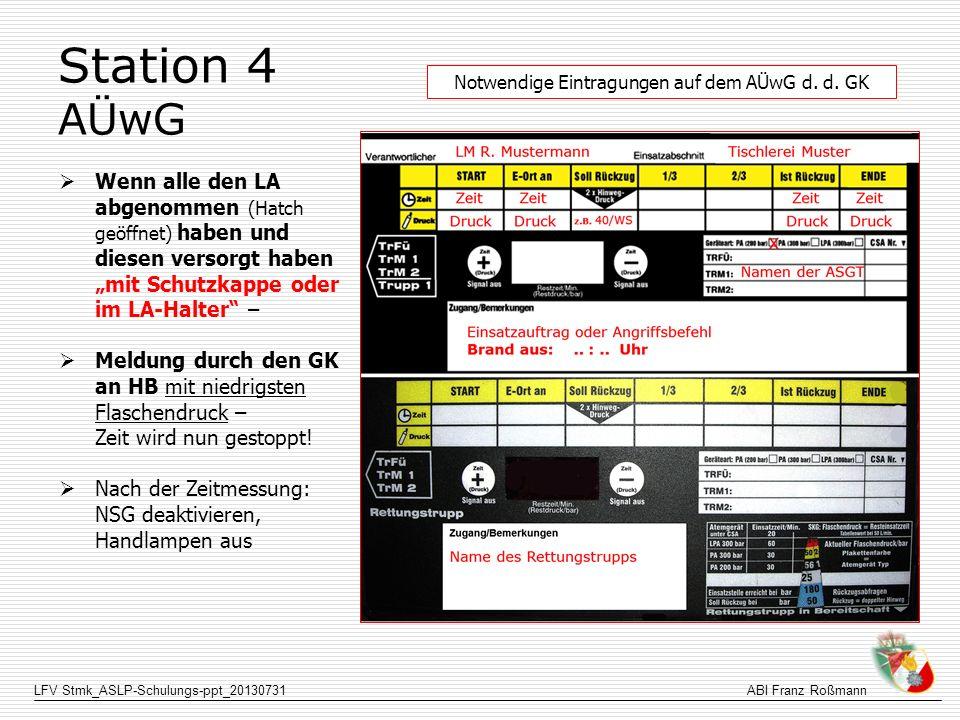 LFV Stmk_ASLP-Schulungs-ppt_20130731ABI Franz Roßmann Station 4 AÜwG Wenn alle den LA abgenommen (Hatch geöffnet) haben und diesen versorgt haben mit