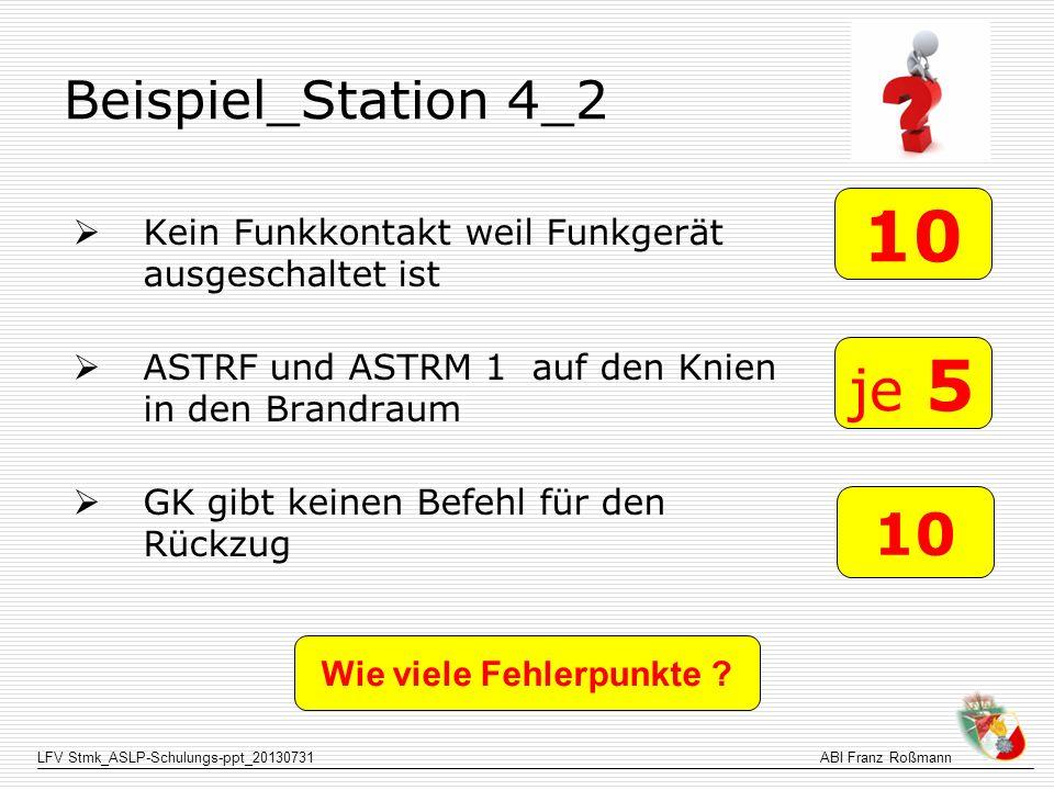 LFV Stmk_ASLP-Schulungs-ppt_20130731ABI Franz Roßmann Beispiel_Station 4_2 Kein Funkkontakt weil Funkgerät ausgeschaltet ist ASTRF und ASTRM 1 auf den