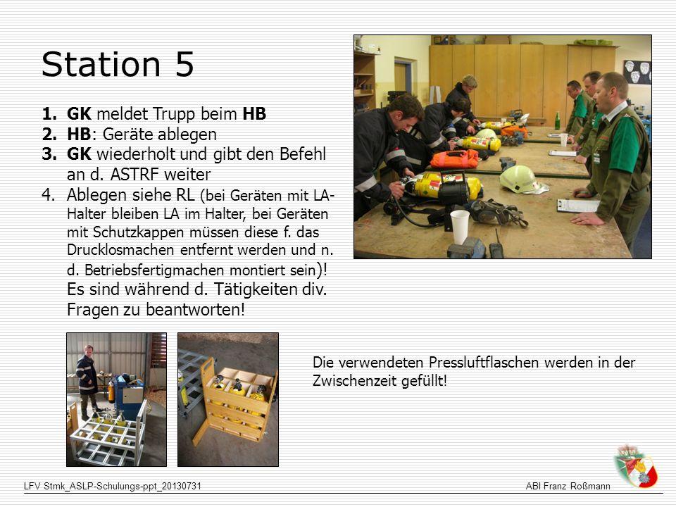 LFV Stmk_ASLP-Schulungs-ppt_20130731ABI Franz Roßmann Station 5 1.GK meldet Trupp beim HB 2.HB: Geräte ablegen 3.GK wiederholt und gibt den Befehl an