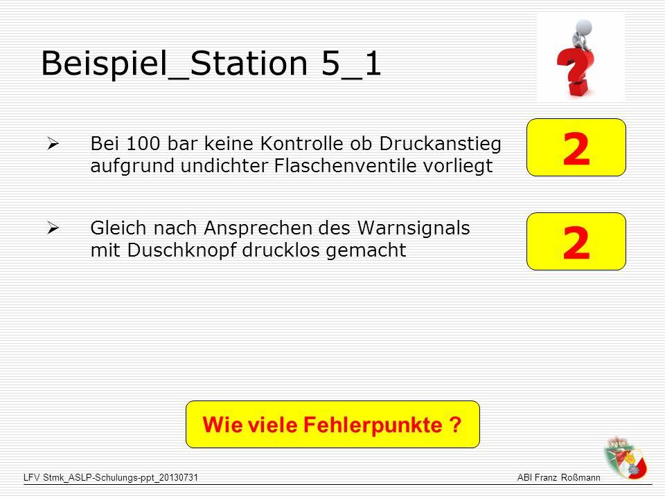 LFV Stmk_ASLP-Schulungs-ppt_20130731ABI Franz Roßmann Beispiel_Station 5_1 Bei 100 bar keine Kontrolle ob Druckanstieg aufgrund undichter Flaschenvent