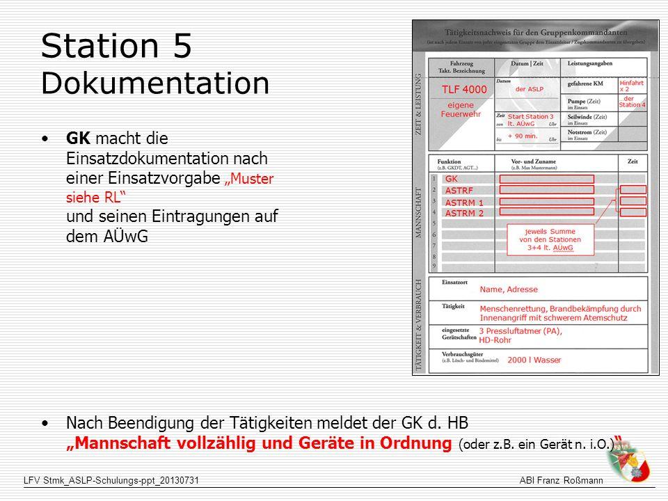 LFV Stmk_ASLP-Schulungs-ppt_20130731ABI Franz Roßmann Station 5 Dokumentation GK macht die Einsatzdokumentation nach einer Einsatzvorgabe Muster siehe