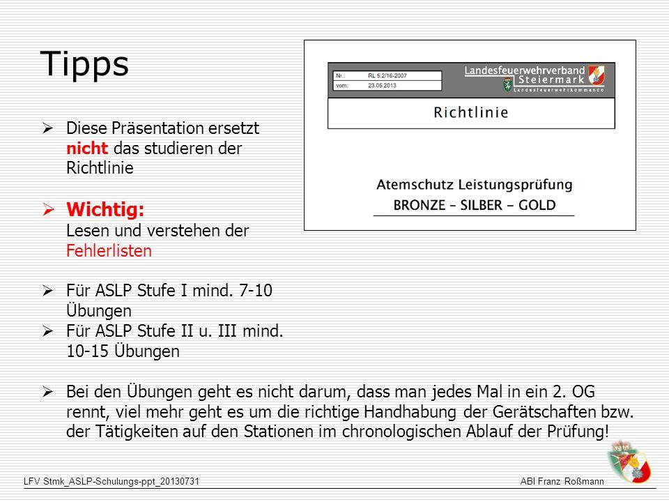 LFV Stmk_ASLP-Schulungs-ppt_20130731ABI Franz Roßmann Tipps Diese Präsentation ersetzt nicht das studieren der Richtlinie Wichtig: Lesen und verstehen