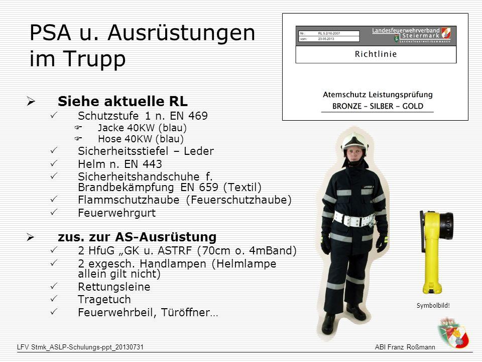 LFV Stmk_ASLP-Schulungs-ppt_20130731ABI Franz Roßmann Station 4 - Vorgehen Meldung niedrigster FD und Rückzugsdruck Symbolisch Funktion HD-Rohr prüfen (beide Hände am Strahlrohr) Wasser marsch (Hand heben reicht) Druckkontrolle bei allen