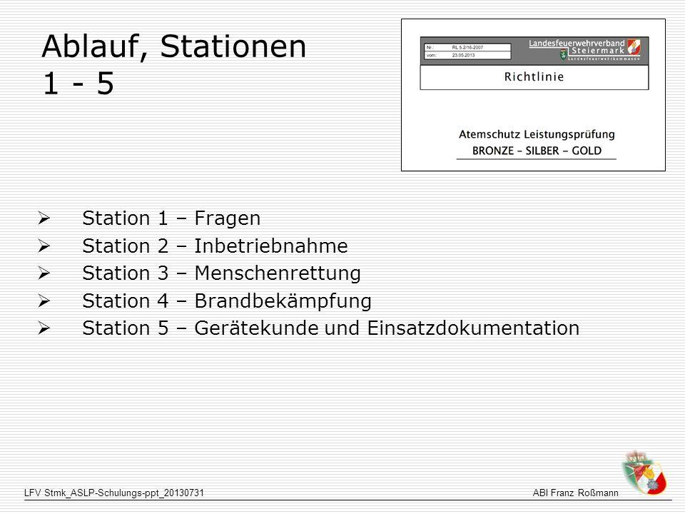 LFV Stmk_ASLP-Schulungs-ppt_20130731ABI Franz Roßmann Station 3 Sollzeit 15 Minuten 1.GK meldet Trupp beim HB 2.ASTRF bekommt Orientierungsleine v.