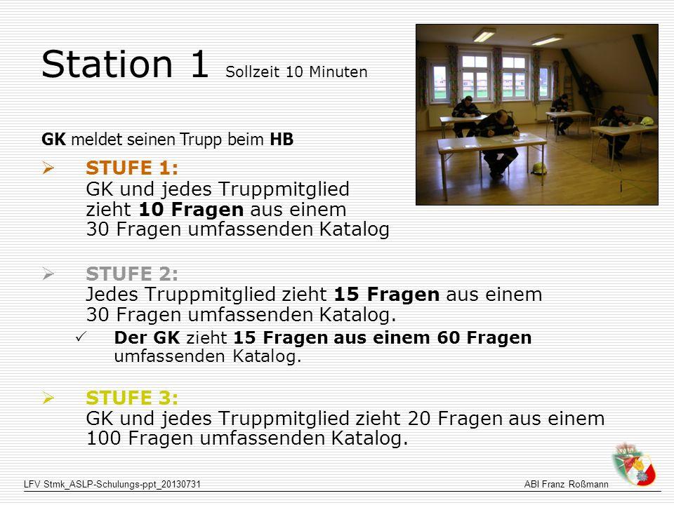 LFV Stmk_ASLP-Schulungs-ppt_20130731ABI Franz Roßmann Station 1 Sollzeit 10 Minuten STUFE 1: GK und jedes Truppmitglied zieht 10 Fragen aus einem 30 F