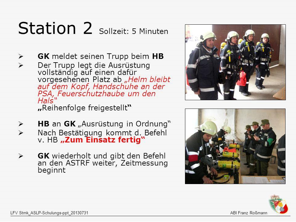 LFV Stmk_ASLP-Schulungs-ppt_20130731ABI Franz Roßmann Station 2 Sollzeit: 5 Minuten GK meldet seinen Trupp beim HB Der Trupp legt die Ausrüstung volls