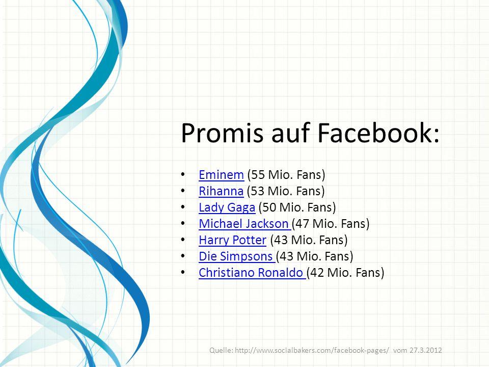 Promis auf Facebook: Eminem (55 Mio. Fans) Eminem Rihanna (53 Mio.